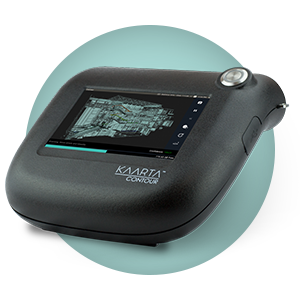 This shows the Kaarta Contour Scanning Device and its built-in screen interface